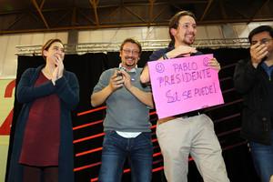 Ada Colau, Xavier Domènech, Pablo Iglesias y Gerardo Pisarello, en un mitin durante la pasada campaña.