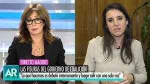 """Rifirrafe entre Ana Rosa e Irene Montero: """"La gente puede pensar que caen en contradicciones"""""""