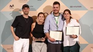Los premiados, de izquierda a derecha: Albert Villagrasa (Antonio Miró), Gema Torrent (Red Point) Jaime Álvarez (Mans Concept Menswear ) y Andrea Arquero (Antonio Miró).