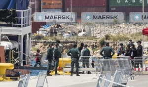 Menores en el desembarco del Aquarius del pasado domingo en València