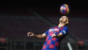 Braithwaite, en su primer día como azulgrana en el Camp Nou.