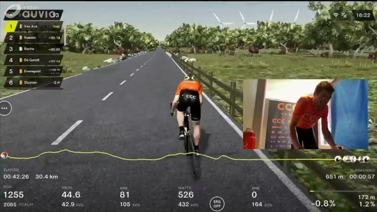 El ciclista belgaGreg Van Avermaet, durante una carrera ciclista virtual