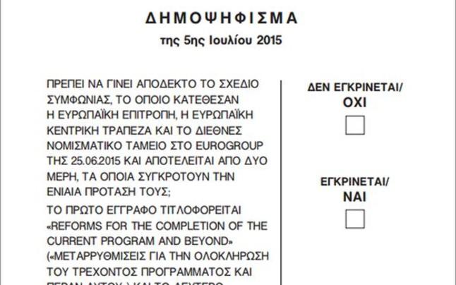 La papereta del referèndum que se celebrarà a Grècia aquest diumenge.
