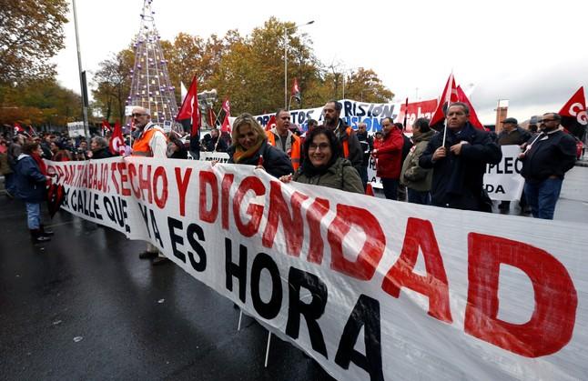 Marcha por la dignidad contra los presupuestos y recortes sociales en Madrid en noviembre del 2014.