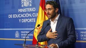 Màxim Huerta, en la rueda de prensa en la que anunció su dimisión, el martes.