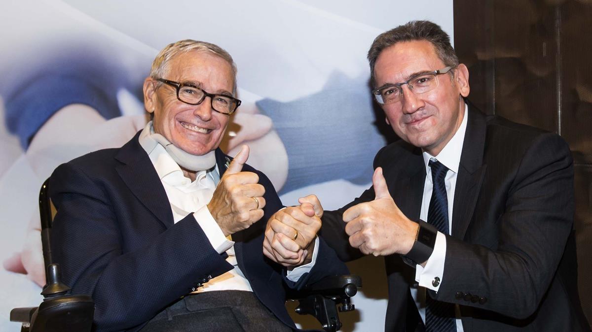 Francisco Luzón, presidente de la fundación homónima, y Jaume Giró, director general de la Fundación Bancaria la Caixa, durante la presentación del proyecto.