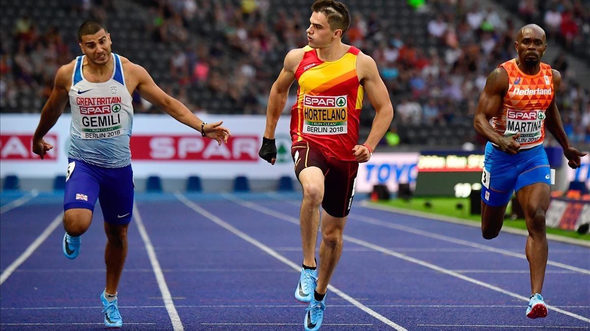 Hortelano entra por delante de Gemili y Martina en su semifinal de 200 de este miércoles en Berlín.