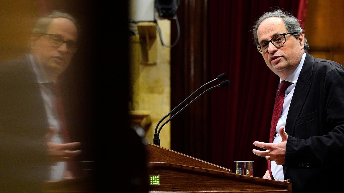 Joaquim Torra, en el Parlament, el pasado 1 de marzo.