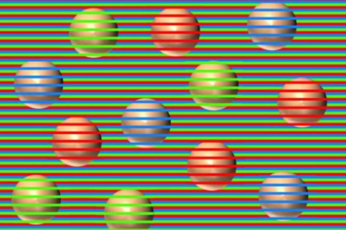 ¿De qué color ves estas esferas? Son todas marrones