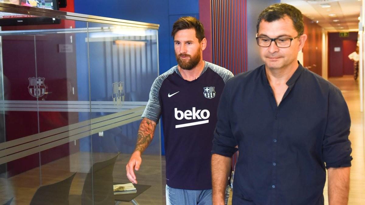 Leo Messi en su vuelta al trabajo en Barcelona