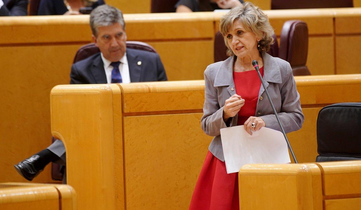 La ministra de Sanidad, María Luisa Carcedo, en una sesión de control al Gobierno en el Senado.