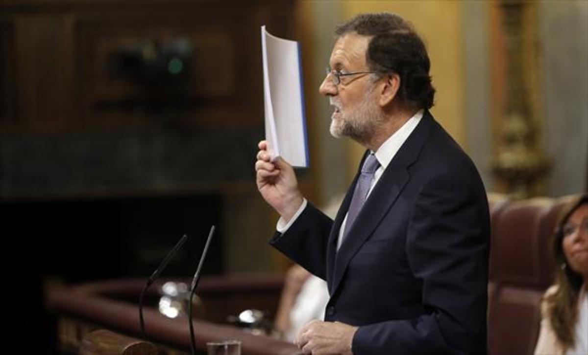 Mariano Rajoy, en la sesión de investidura del pasado mes de agosto, en el Congreso de los Diputados.