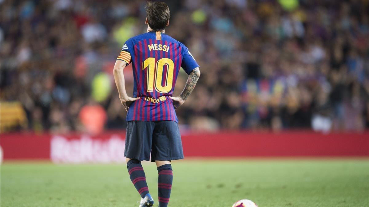 Messi, durante el encuentro ante el Alavés.