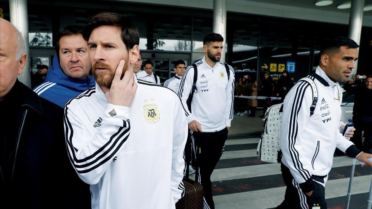 Messi, a su llegada al aeropuerto Adolfo Suárez-Barajas de Madrid.