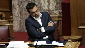 El primer ministro griego, Alexis Tsipras, en el Parlamento en Atenas.