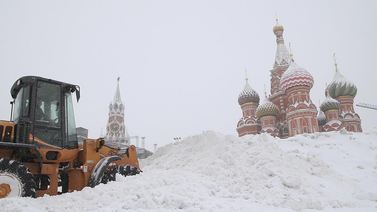 Nieva en Moscú.