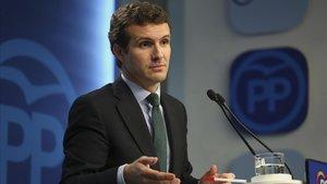 Pablo Casado durante la rueda de prensa que ofrecida tras la reunión del Comité Ejecutivo Nacional.