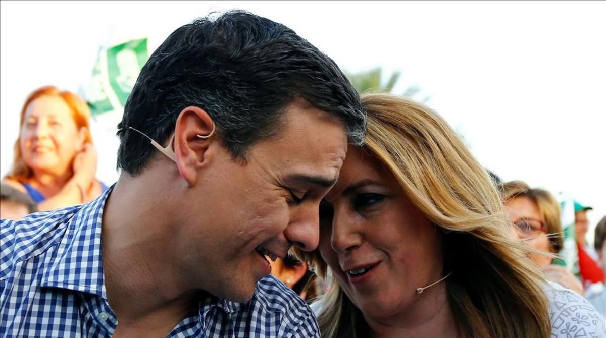 Pedro Sánchez y Susana Díaz, el pasado 24 de junio durante un mitin en Sevilla.