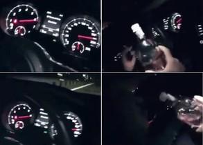 Pillado un joven que se grabó conduciendo a 200 y bebiendo ginebra