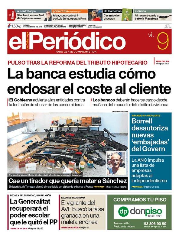 La portada de EL PERIÓDICO del 9 de noviembre del 2018
