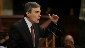 El portavoz de Hacienda del PSOE, Pedro Saura, este miércoles en el Congreso.