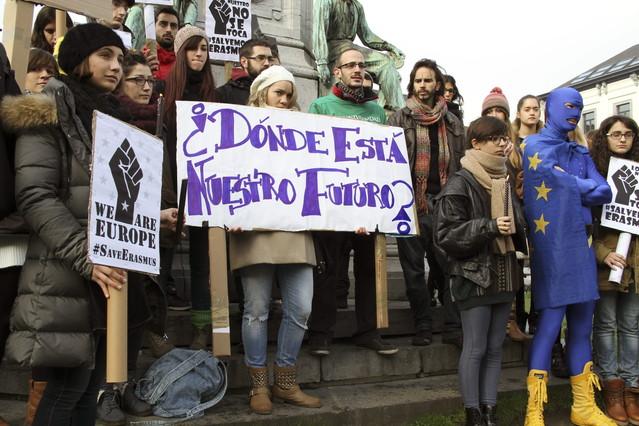 Protesta en Bruselas de la comunida de Erasmus españoles en noviembre pasado. EFE / ALFREDO LÓPEZ CALBACHO