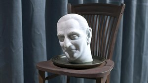 Record d'un malson, de Joan Brossa, que representa la cabeza decapitada del exalcalde de Barcelona José Maria de Porcioles servida en bandeja