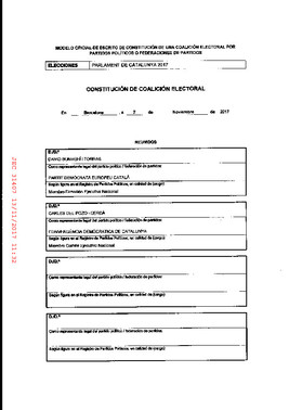 Registro ante la JEC de la coalición electoral de JxCat y CDC en las elecciones del 21-D.