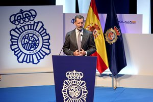 El Rey Felipe VI interviene en la inauguración del Congreso Internacional sobre la Igualdad de Género en el ámbito de la seguridad en el Palacio de Congresos 'El GrecoÂ? de Toledo (España), a 6 de noviembre de 2019.