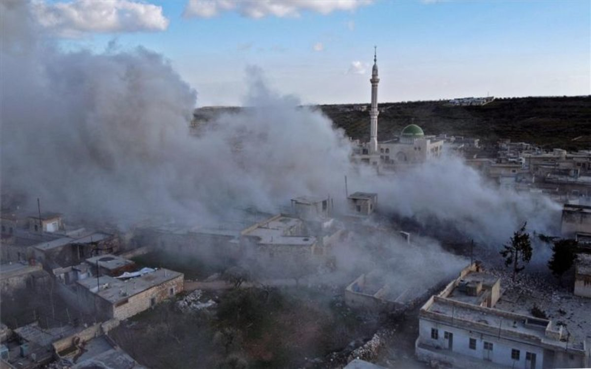 Bombardeos aéreos en Idlib, Siria.