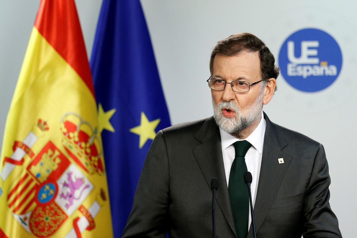 Mariano Rajoy, durante una conferencia de prensa tras una reunión de la UE.
