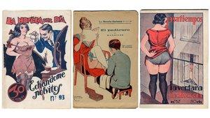 Tres portadas represemtativas de la obra que Sanxo Farrerons vendía como rosquillas.
