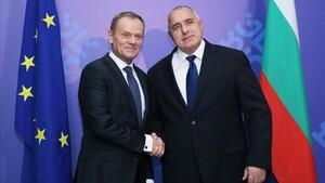 El presidente del Consejo Europeo, Donald Tusk (izquierda), junto al primer ministro bulgaro, Boyko Borissov.