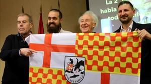 Los promotores de Tabarnia, con Albert Boadella como presidente en el exilio, este martesen Madrid.