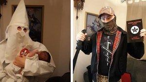 Adam Thomas, en redes sociales con su hijo en brazos.