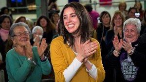 La portavoz de Podemos en el Congreso, Irene Montero, en su vuelta a la vida pública en el acto 'La vida, en el centro'
