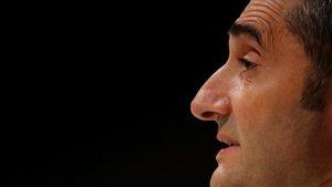 Valverde, en la conferencia de prensa que ofreció en San Siro antes del Inter-Barça.
