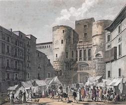 'Vista de la Plaza Nueva y de una de las puertas antiguas de Barcelona'. Grabado de Reville et Couché fils (1806)