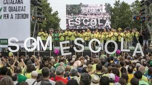 Momento de una manifestación de SomEscola en defensa del modelo de inmersión lingüística, en junio del 2014.