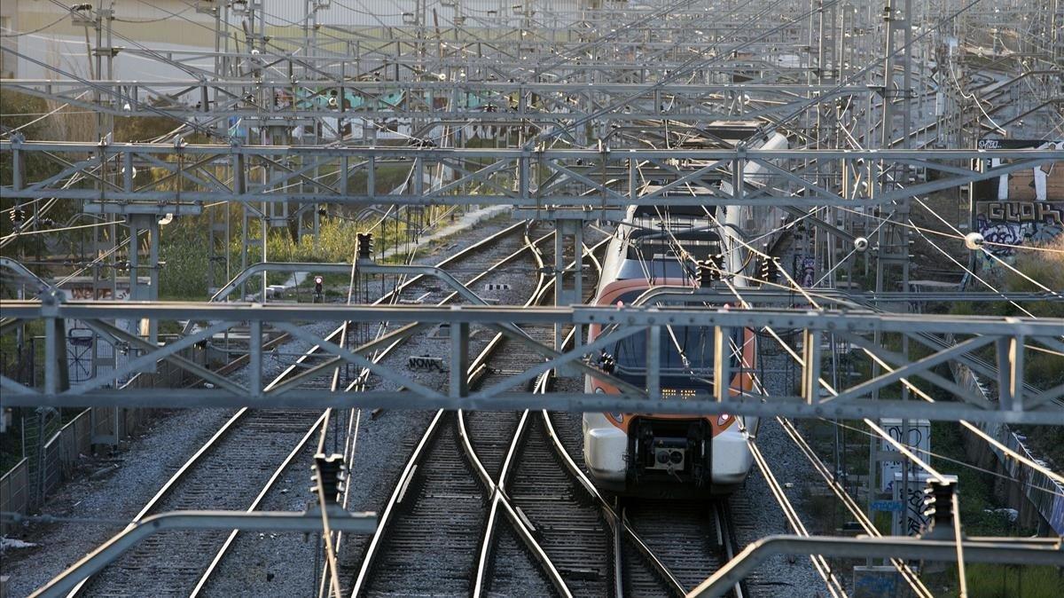 Tramo de vías ferroviarias en el término municipal de L'Hospitalet.