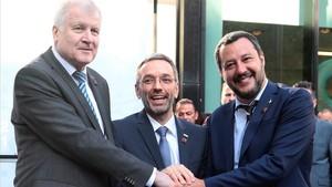 Los ministros de Interior de Alemania, Italia y Austria.