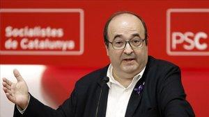 Miquel iceta, durante su intervención en el Consell Ncional del PSC.