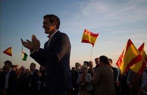 El candidato de Ciudadanos, Albert Rivera, en un mitin en Málaga.