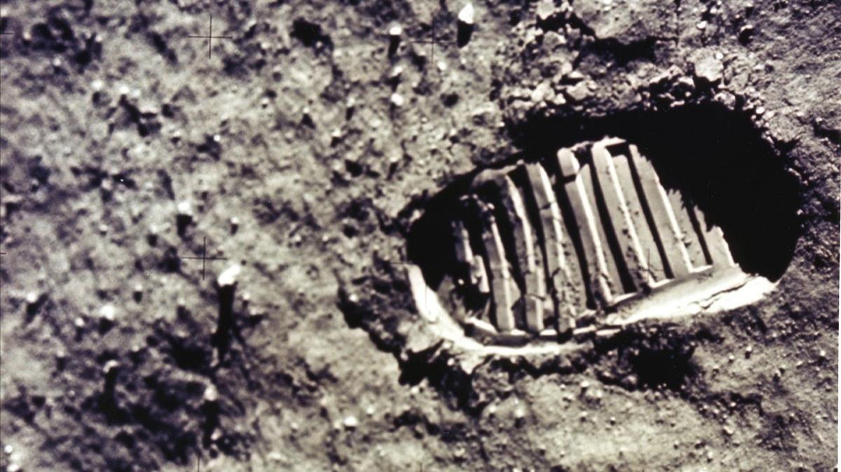 Huella humana sobre la superficie lunar, el 20 de julio de 1969.