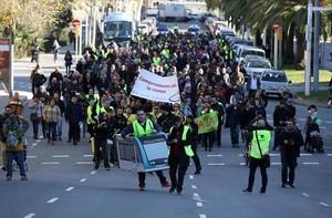 Manifestación para reclamar la conexión del tranvía en la avenida Diagonal, el pasado 20 de enero.