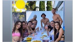 La imagen que se compartió en redes sociales de la reunión de los cuatro jugadores del Sevilla.
