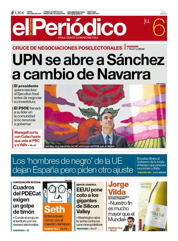 La portada d'EL PERIÓDICO del 6 de juny del 2019