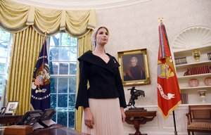 White House adviser Ivanka Trump listens during a meeting between US President Donald Trump and Nikki Haleythe United States Ambassador to the United Nations in the Oval office of the White House October 92018 in WashingtonDC-Photo by Olivier DoulieryAFP
