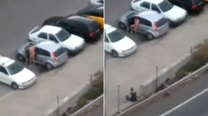 Capturas del vídeo publicado porAlbiol en el que se ve a un hombre desnudo en Badalona
