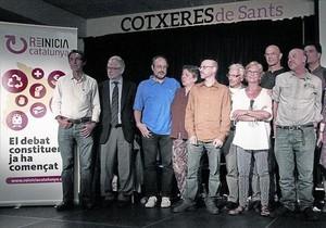 Algunos de los impulsores de Reinicia Catalunya, en la presentación de la plataforma en Barcelona.